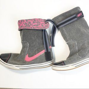 NIKE Rare Glencoe Canvas Roll Over Boots Gray/Pink